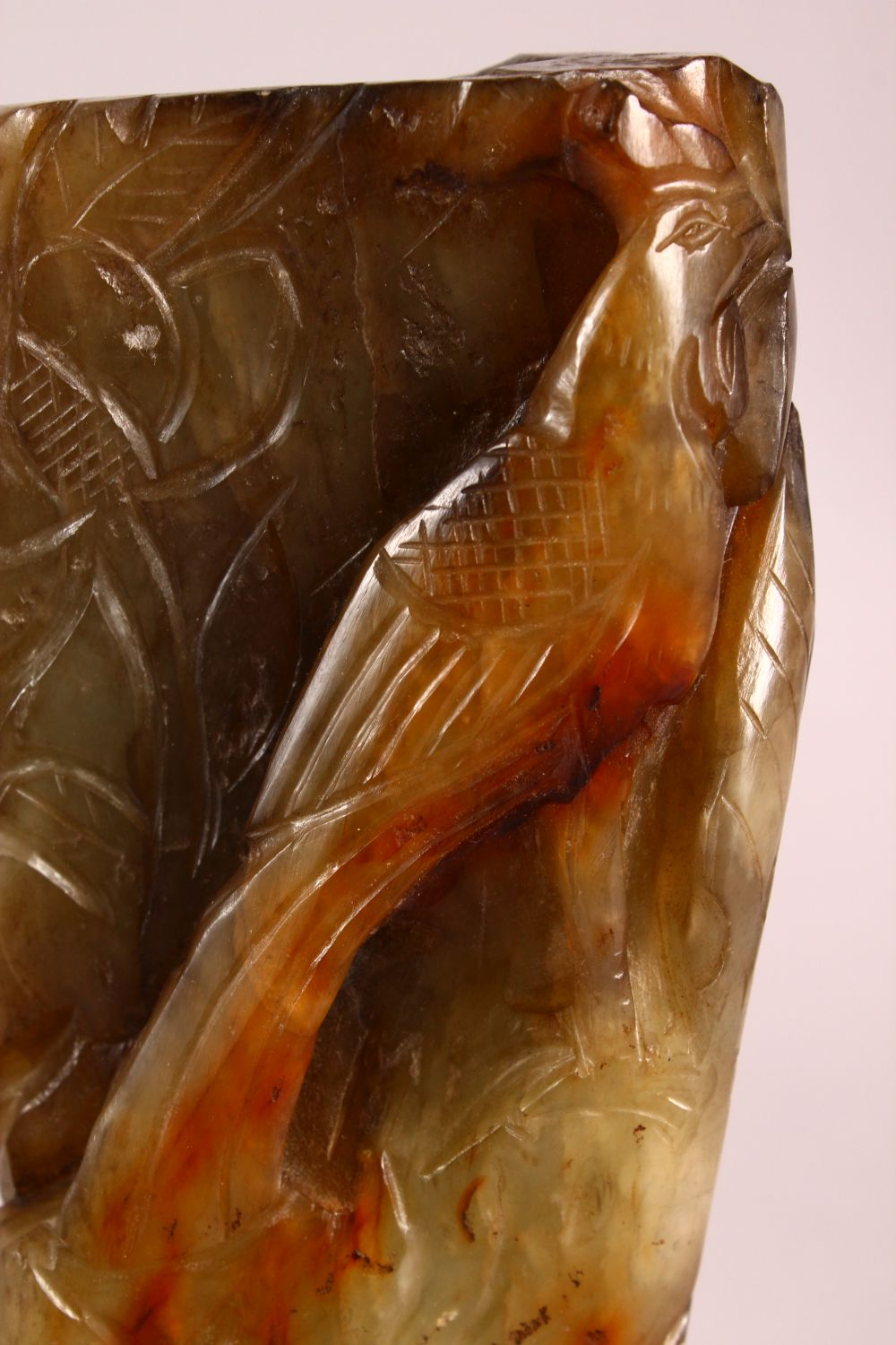 A CHINESE CARVED JADE VASE, carved with figures and foliage, 20.5cm - Image 5 of 8