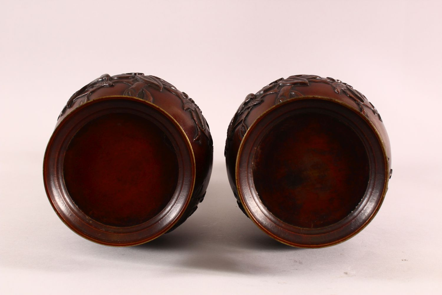 A PAIR OF JAPANESE RELIEF BRONZE VASES, with twin handles, relief birds and flora decoration, 40cm - Image 7 of 7