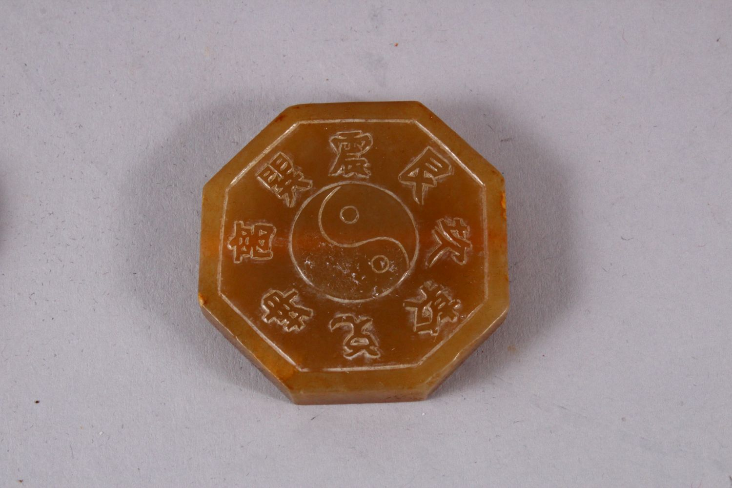 THREE CHINESE CARVED JADE PENDANTS, One carved in the form of TWIN BATS AND SYMBOLS, 6.5cm, one - Image 4 of 5