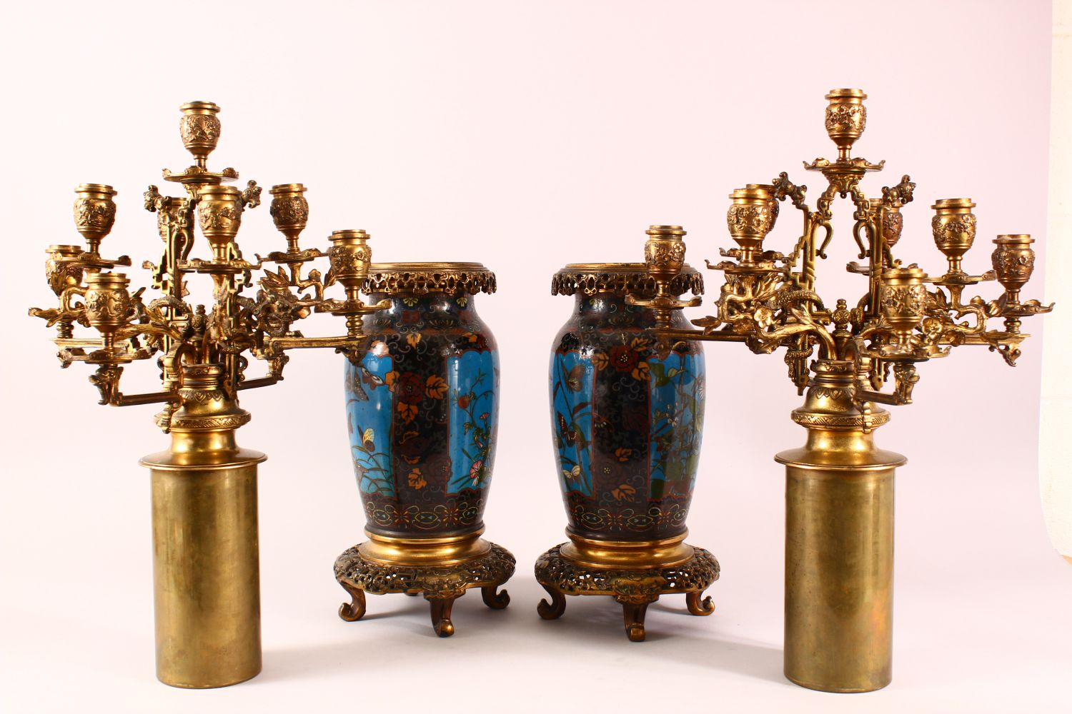 A VERY GOOD PAIR OF JAPANESE CLOISONNE AND ORMOLU NINE LIGHT CANDELABRA, the candle branches - Image 10 of 12