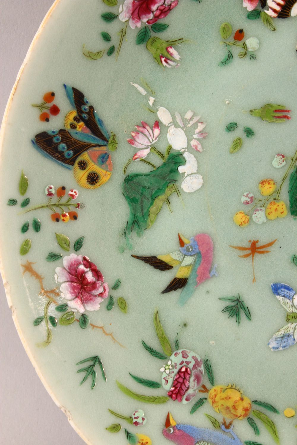 A 19TH CENTURY CHINESE CELADON FAMILLE ROSE PORCELAIN PLATE, With decoration of birds, flowers and - Image 3 of 7