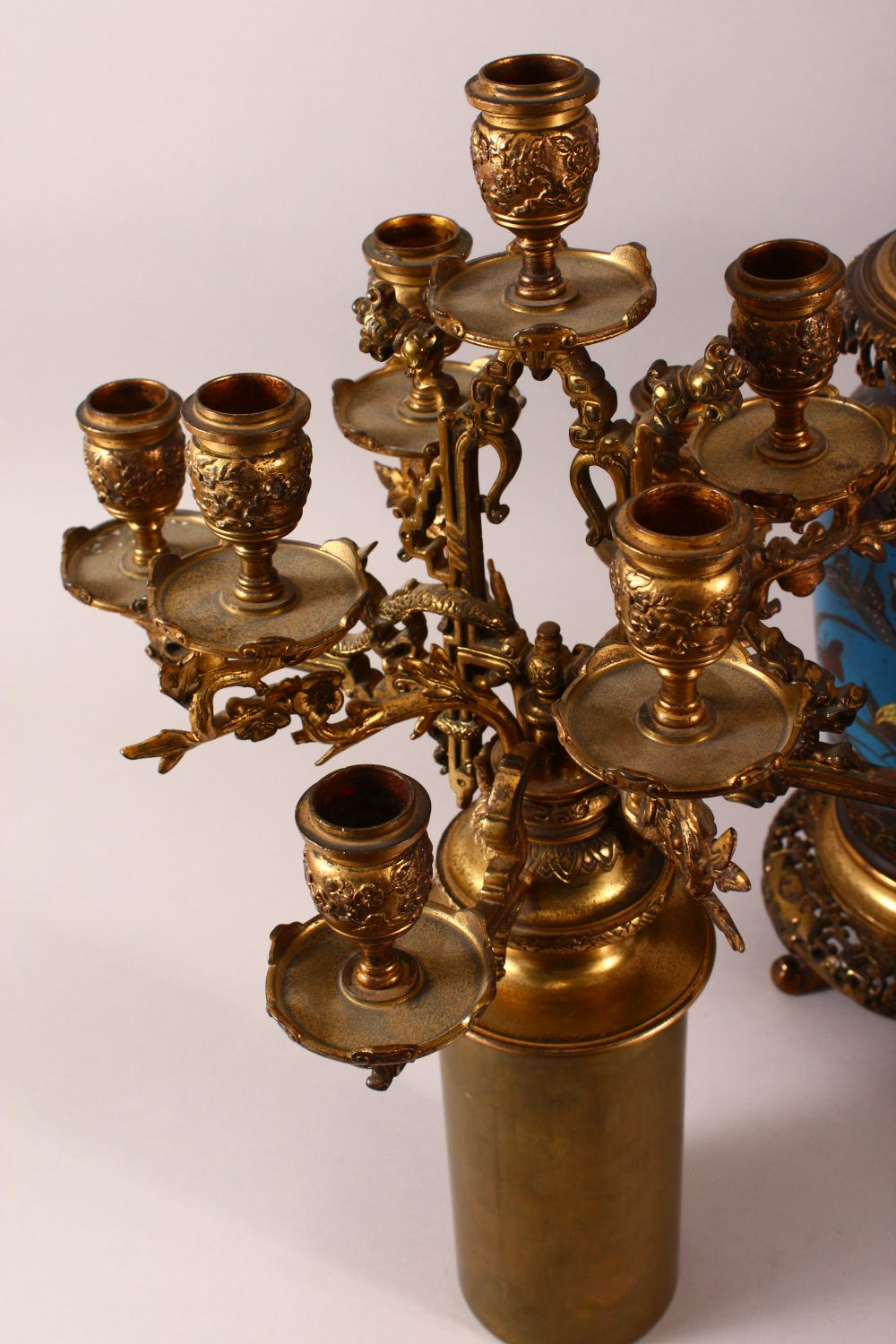 A VERY GOOD PAIR OF JAPANESE CLOISONNE AND ORMOLU NINE LIGHT CANDELABRA, the candle branches - Image 11 of 12