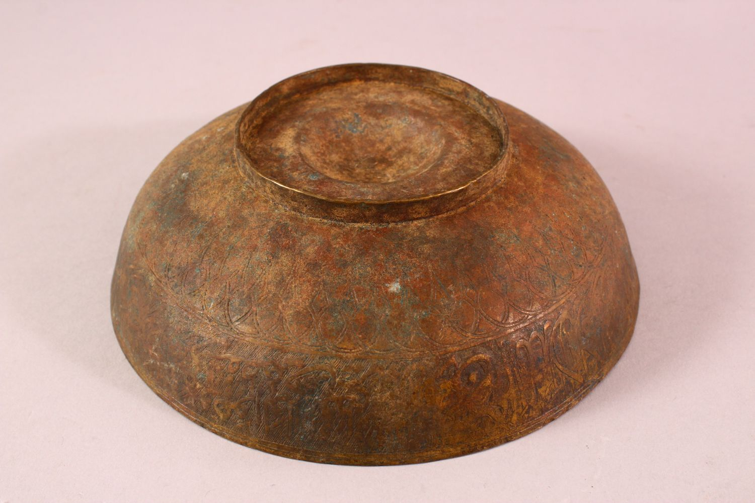 A 17TH/18TH CENTURY INDIAN DECCANI MAGIC BOWL, engraved to the exterior and interior with bands - Image 3 of 4