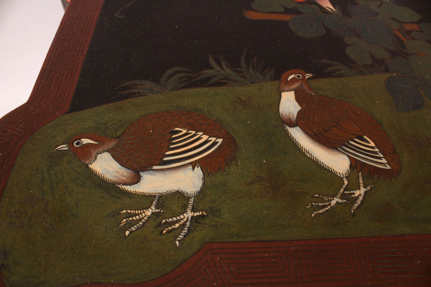 A GOOD CHINESE CARVED WOOD & LACQUER DECORATED LOW TABLE, the top with decoration of quails in - Image 4 of 6