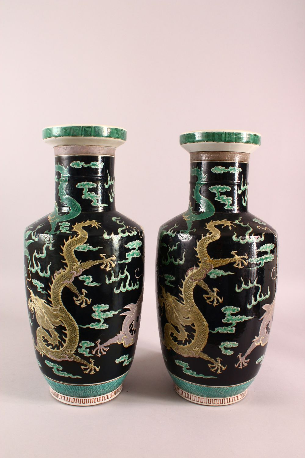 A LARGE PAIR OF CHINESE FAMILLE NOIR PORCELAIN DRAGON VASES, each vase with a black ground depicting - Image 9 of 13