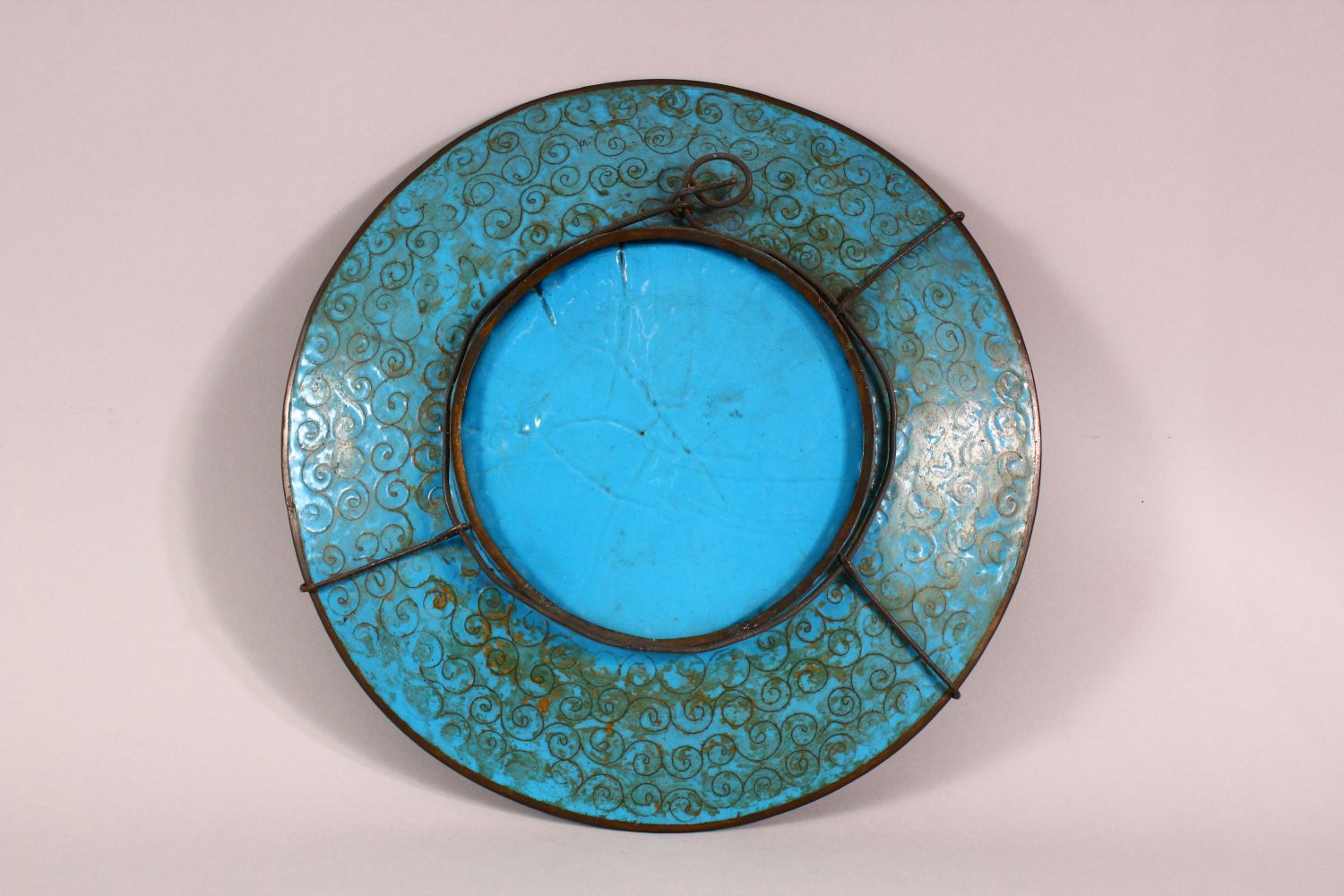 A JAPANESE CLOISONNE DISH, decorated with cranes and flowers, 30cm diameter. - Image 3 of 3