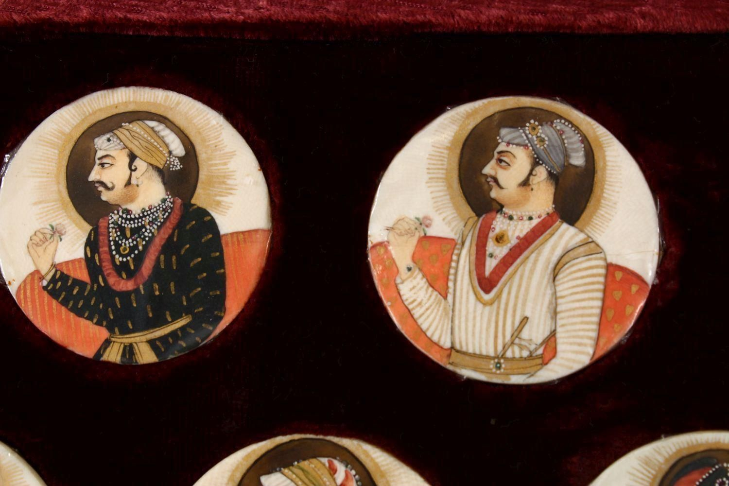 A BOXED SET OF THIRTEEN 18TH/19TH CENTURY PERSIAN CARVED & PAINTED IVORY MINIATURES, each of the - Image 6 of 10