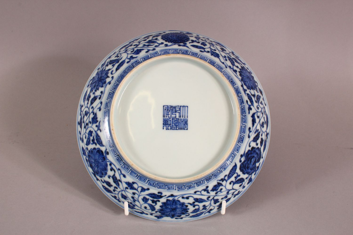 A CHINESE BLUE & WHITE PORCELAIN LOTUS DISH, decorated with sprays of lotus, the underside with a - Image 4 of 5