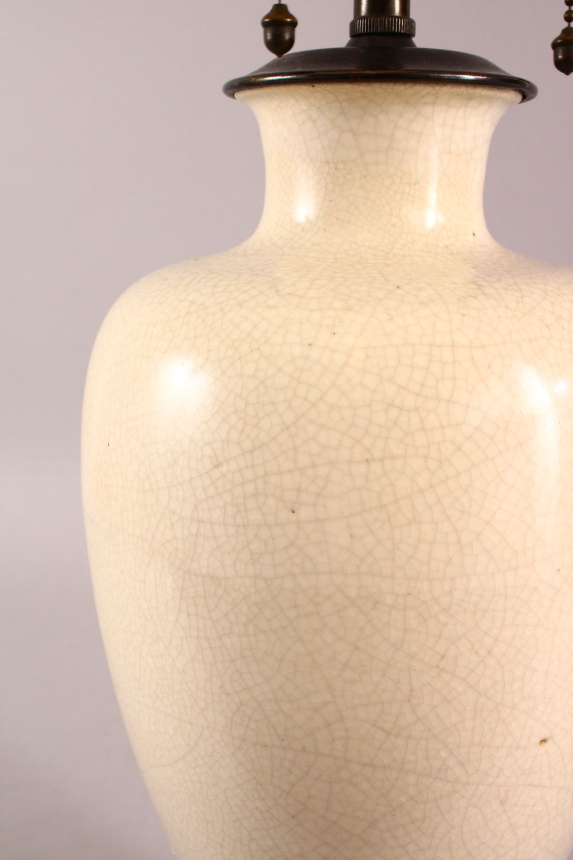 A CHINESE CRACKLE GLAZED PORCELAIN VASE / LAMP, 61CM - Image 3 of 4