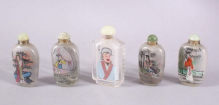 A MIXED LOT OF 5 CHINESE REVERSE PAINTED SNUFF BOTTLES, each with decoration of figures mostly in