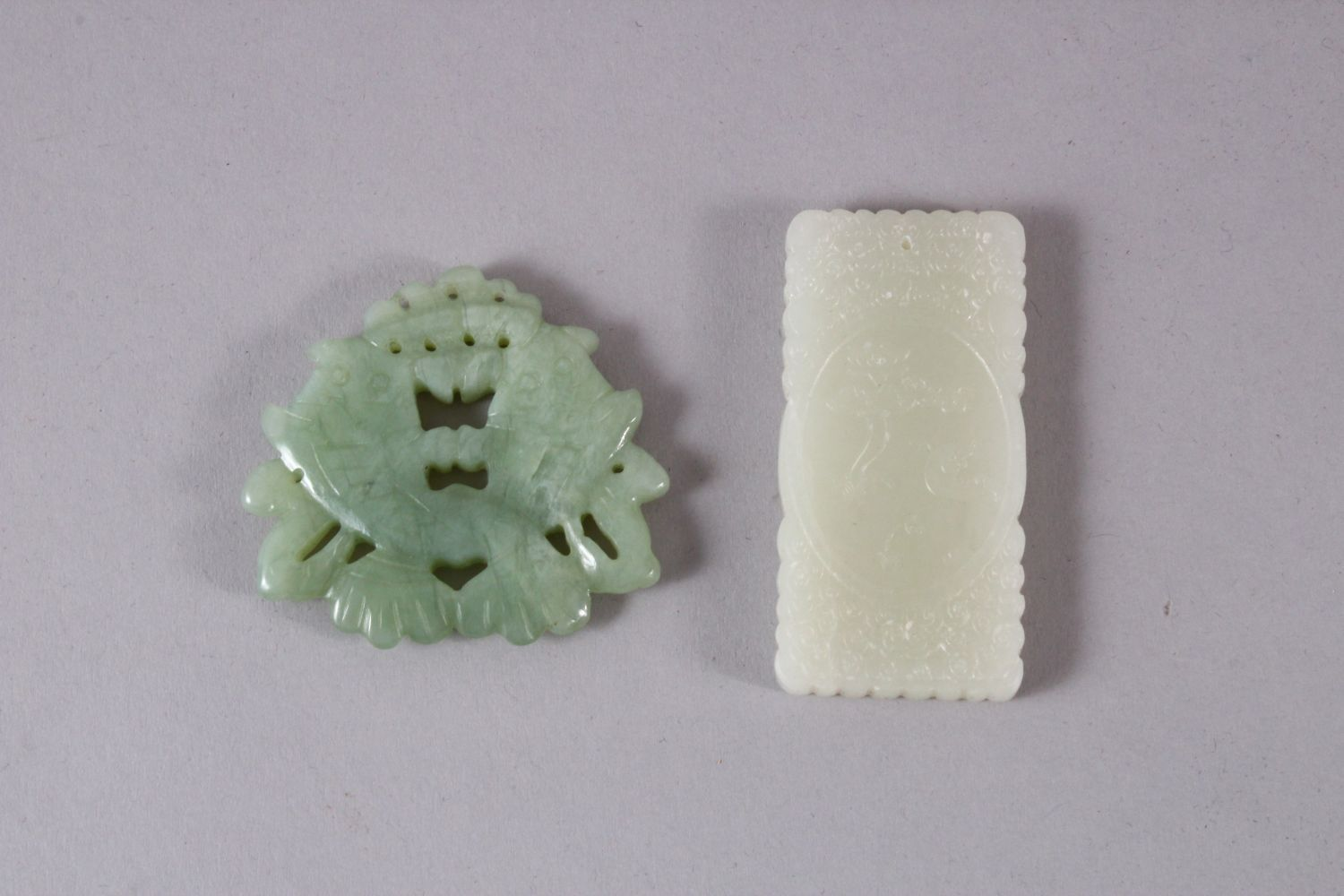 TWO CHINESE CARVED JADE TWIN FISH & IMMORTAL PENDANTS, one carved in the form of twin fish, 5cm, - Image 4 of 5