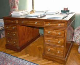 A GOOD GEORGE III MAHOGANY DESK with inset leather top, three frieze drawers, three drawers to