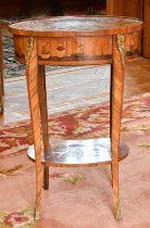 A GOOD SMALL LOUIS XVI DESIGN INLAID OVAL TWO TIER TABLE, inlaid with figures, foliage and playing