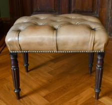 A GREEN LEATHER PADDED TOP STOOL on fluted mahogany legs. 1ft 10ins long x 1ft 4ins wide x 1ft