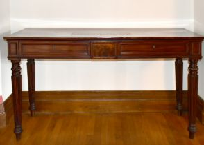 A REGENCY MAHOGANY LONG SIDE TABLE with plain top, two frieze drawers, supported on tapering