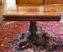 A GOOD LATE REGENCY ROSEWOOD TEA TABLE with folding top, centre column, platform base with four claw