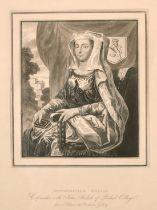"A pair of prints of John and Devorguilla Baliol, founders of Baliol College Oxford, 9"" x 6""."