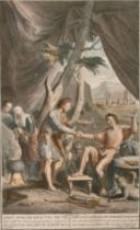 """G. Yander Gouwen after G. Hoet, A scene from the book of Genesis, 14"""" x 8.5""""."""