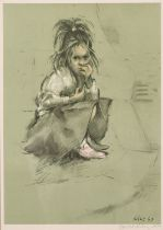Harold Riley (b.1934) Young girl kneeling on the pavement, colour print, signed and numbered '268/
