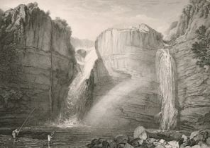 50125 40. Three 19th century engravings after Turner with mountainous river landscapes including '