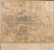 """John Lingard, 'Laurie's New Plan of London and its Environs' circa. 1834, 31"""" x 33.25""""."""