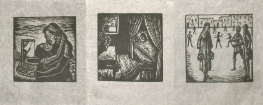 """Hermann Fechenbach (1897-1986) three engravings of Old Testament subjects, all 2.3"""" x 2.5"""", (7)."""