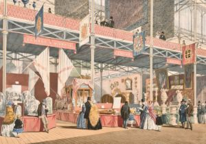 19th century, A coloured print of the great exhibition showing the stands of Guernsey and Jersey,