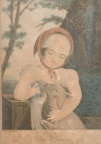 """A pair of 19th century French coloured prints after Blanchet, each 8"""" x 6"""", (2)."""