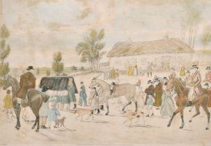 "Tom Moody, 'Death of a Jockey', hand coloured engraving, 16"" x 21""."