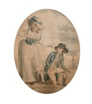 """19th century, a novelty coloured print 'Fix Your Mind On Things Above', print, 8"""" x 6"""", (oval)."""