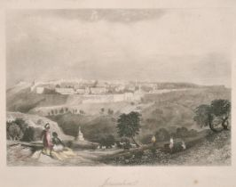"""A set of three hand coloured steel engravings of Holy Land scenes, each 6"""" x 8.5"""", (3)."""