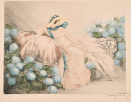 Louis Icart (188-1950) French, 'La Dame en Rose', drypoint and aquatint, signed in pencil and with