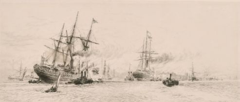 """W. L. Wyllie (1851-1931) British, An etching of shipping on a busy river, 4.75"""" x11""""."""