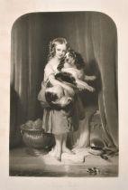 Samuel Cousins after Landseer, 'Beauty's Bath', a young girl holding a spaniel, mixed method