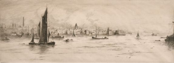 """Frank Harding (19th /20th century) 'Waterloo Bridge', Etching, signed and inscribed in pencil, 6"""""""