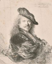 """Thomas Worlidge after Rembrandt, engraving, 7"""" x 6"""". and two other unidentified etchings the first"""
