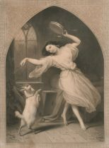 """A 19th century mezzotint of a maiden with a dancing goat, 23"""" x 18""""."""