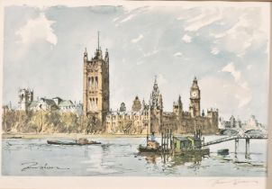 Edward Wesson (1910-1983) British, 'Westminster from Lambeth Bridge', limited edition, signed in