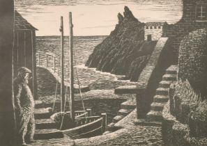 20th century, A woodblock print of a harbour scene, signed 'Morton' in pencil and inscribed 'Pol