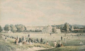 "The cricket match, Tunbridge school, coloured print, in a maple frame, 19"" x 31.5""."