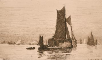 """Wilfred Ball (1853-1917) British, A set of three engravings including 'Off Woolwich', each 2.25"""" x"""
