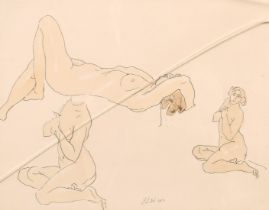 """F. D. W. circa 1912, A print of a female nude in three positions, 9"""" x 11""""."""