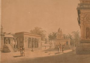 """After Col. Ward (19th century) 'A View Within the Walls of A Pagoda, Madras', Aquatint, 11.5"""" x 16."""
