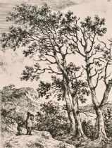"""Circle of John Crome, two travellers in a wooded landscape, etching, numbered '10', 4.25"""" x 3."""