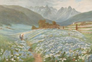 """After Macwhirter, 'Jane in the Austrian Tyrol', coloured print, 10.5"""" x 16"""", in a fine Florentine"""