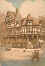 Robert Herdman-Smith (1879-1945) British, Two views of Chester, coloured etchings, signed and