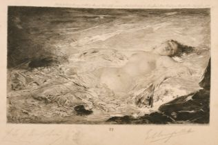 """After Charles Chaplin, A reclining female nude, etching, signed in pencil and inscribed, 9"""" x 6""""."""