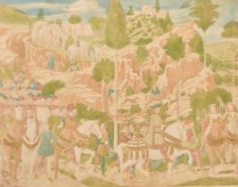 """Two late 19th century medieval scenes with figures and horses in a convoy, tinted prints, both 11"""" x"""