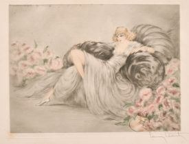 """Louis Icart (188-1950) French, 'Le Fleurs Rose', drypoint and aquatint, signed in pencil, 8.5"""" x"""