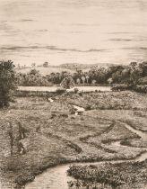 Heywood Sumner (1853-1940) British, 'Alresford Pond', a stream meandering towards a pond, etching,